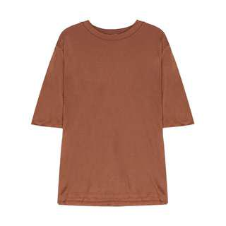 Aland Korea Basic Brown Round Neck T-shirt
