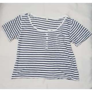 F21 striped Semi Crop top