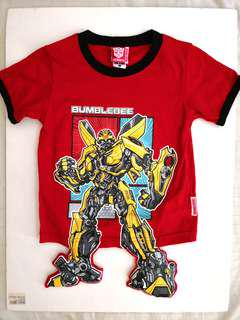PRELOVED TRANSFORMERS Part 3D Fun & Cool Cartoon Comic Yellow Bumblebee Print on Red Cotton T-shirt Top for Boys / Kids / Children / Child / Toddlers / Size 3 to 6 years - in excellent condition
