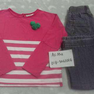 inc pos wm poney blouse top & cherokee jeans girl 4 years