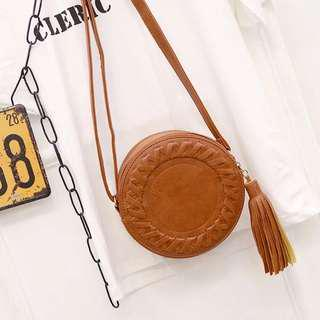 Brown Bohemian Tassel Sling Bag