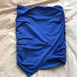 Blue kookai bunched mini skirt