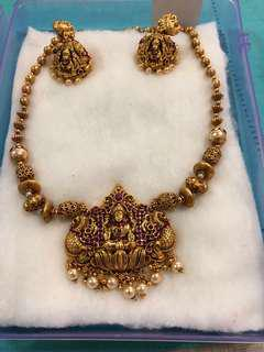 Indian Temple Fashion Jewellery Necklace with Earrings