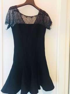 黑色lace斯文裙