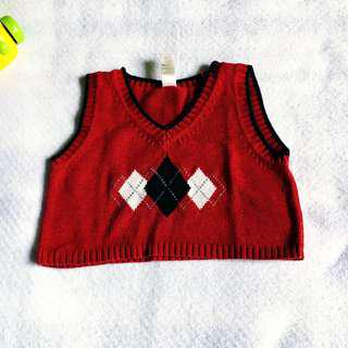 Baby Boy Red Checkered Knitted Vest Topper (George 12M on tag)