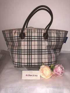 【JAPAN】Auth BURBERRY BLUE LABEL Cream/Beige/Brown Plaid Check Large Tote