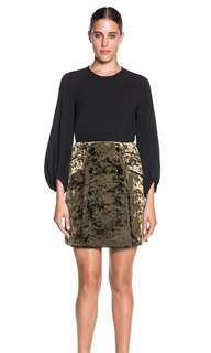 Cue Olive Crushed Velvet Skirt - Size 10 BNWT RRP $260 Current Season!!