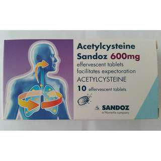 Acetycysteine Sandoz 600mg 10 effervescent tablets Brand New Expiry July 2019