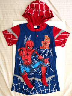 NEW WITH TAGS | MARVEL SPIDER-MAN HOMECOMING Boys / Kids / Children / Toddlers Cartoon Comic Red & Blue Spidey Hooded T-shirt Top & Short Pants Set - in perfect condition