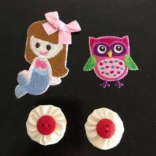 4 Random cute appliqués mermaid owl pinwheels