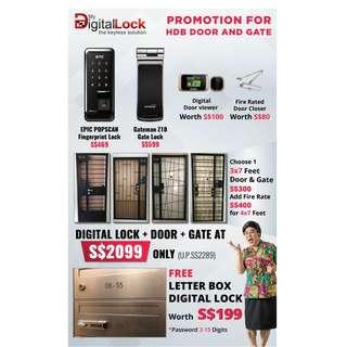 Maindoor Digital lock (fingerprin)+Main gate digital lock (fingerprint) + Door + Gate at $2099 (Call 96177025) leon