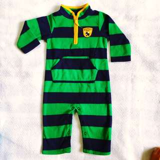 Baby Boy Green Stripe Sleepsuit Bodysuit (Carter's 12M on tag)