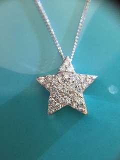 ✨⭐️ 星星 鉑金 天然鑽石頸鏈