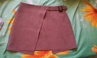 Brown Overlap V skirt
