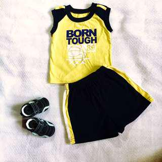 Baby Boy Blue Yellow Born Tough Set (can fit 18-24 months)