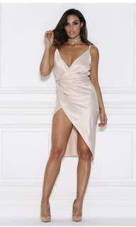 Meshki satin wrap dress