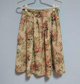 🚚 日本專櫃花柄鬆緊中長裙