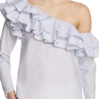 H&M WHITE ONE SHOULDER RUFFLE TOP