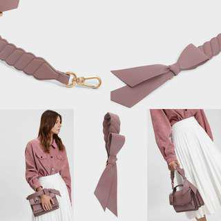 Charles & Keith  Oversized Bow Detail Short Bag Strap (Mauve)