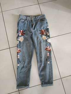 Topshop embroidery mom jeans