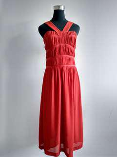 Veronika Maine Coral red dress size 8