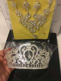 Bridal Crown+necklace+earring SET