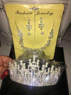 Bridal crown + necklace + earring SET