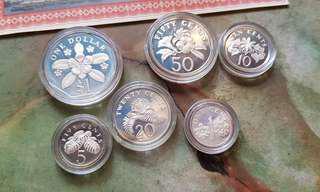 1985 Singapore Silver Coin Set (BIG $1 DOLLAR)