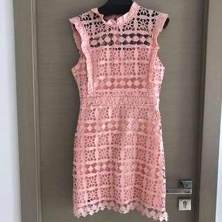 粉橙紅色喱士斯文裙 lace dress