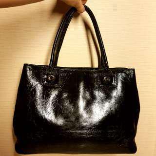 Agnis B Voyage Paris Patent Leather Bag