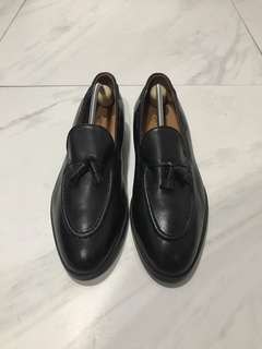 Saint Niord Black Leather Shoes Tassel Loafers