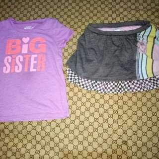Take Oshkosh Top and Disney Car's skirt(Size 4y/o)