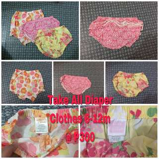 TAKE ALL Baby Diaper Clothes 6-12mos
