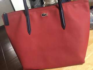 Lacoste small tote in red with navy handle-exclusive and limited availability, rare