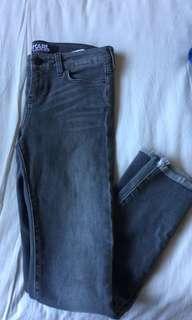 Karl Largerfield Hipster Black Denim Jeans DIstressed Frayed Hem Size 8 w26