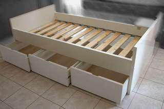 Ikea Brekke Single Bed with Three Storage Drawer