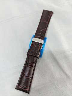 20/22 Brown leather watch strap