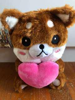 Shiba Inu with heart plush