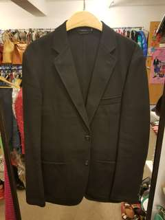 Hermes Men 48 black cotton blazer jacket