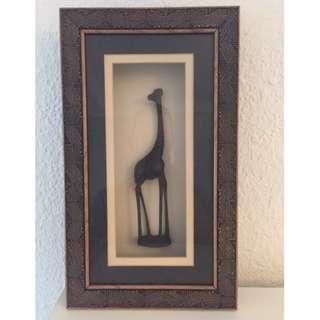 Framed wooden Giraffe