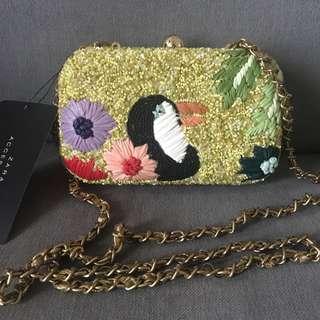 Zara beads clutch bag with long strap