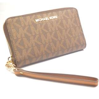899272f9801c02 MICHAEL KORS JET SET TRAVEL SIGNATURE COATED TWILL LARGE PHONE CASE WALLET