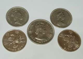 上品罕見5款 由古女皇頭至今洋紫荊 1元銀幣