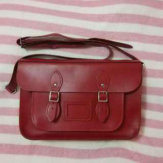 Red Leather Satchel Company Bag