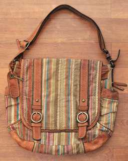 Authentic Fossil Leather-Canvas Messenger Bag