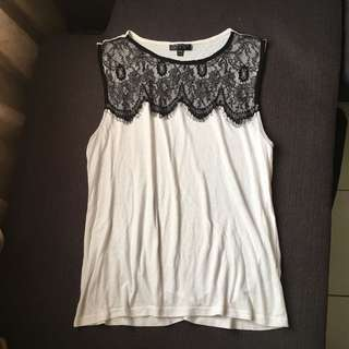 TOPSHOP Monochrome Lace Top