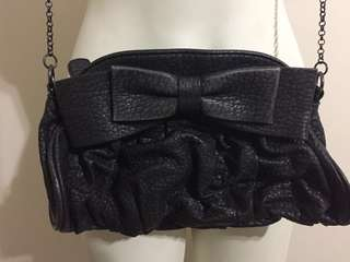 Zara Black Bow Leather Look Shoulder Bag Ruched Chain