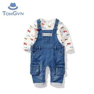 Cute Little Baby Car Shirt & Denim Jumpsuit