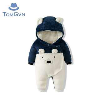 Winter Baby Polar Bear Fleece Suit