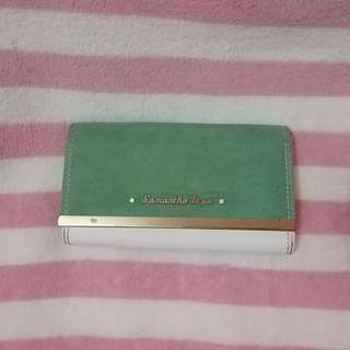 Samantha Vega White and Green Long Wallet
